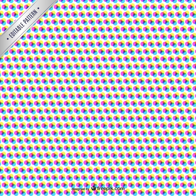 Cmyk abstract pattern with color dots Free Vector