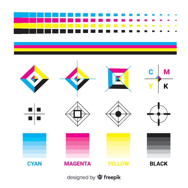 Cmyk calibration element collection Premium Vector