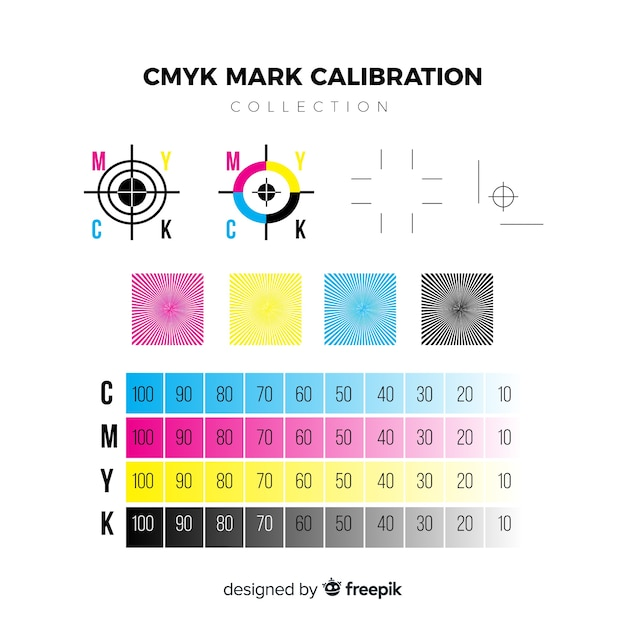 Cmyk calibration element collection Free Vector