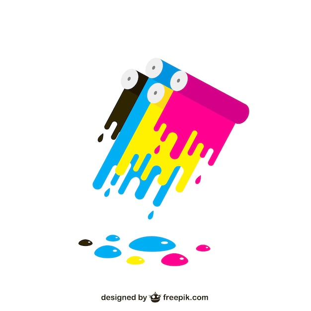 Cmyk colorful paint stains Premium Vector