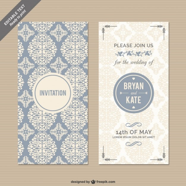 CMYK Floral wedding invitation Vector Free Download