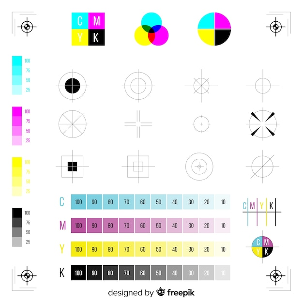 Cmyk mark calibration collection Free Vector