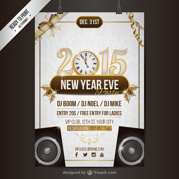 Download Vector - CMYK New Year party poster template - Vectorpicker