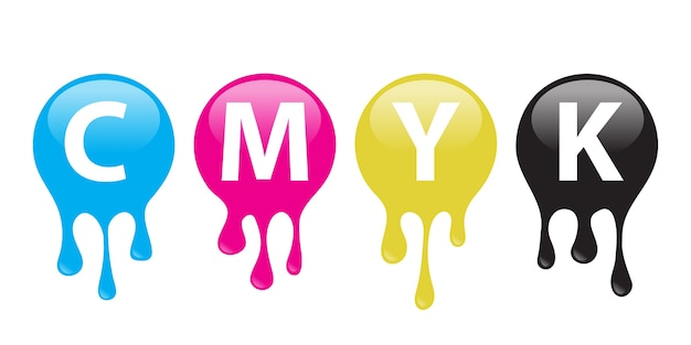 Cmyk paint symbol. spilled paints.  element . illustration. Premium Vector
