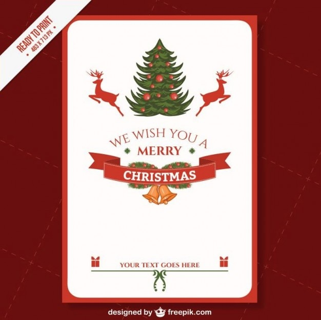 Marvelous Cmyk Printable Christmas Card Template Free Vector