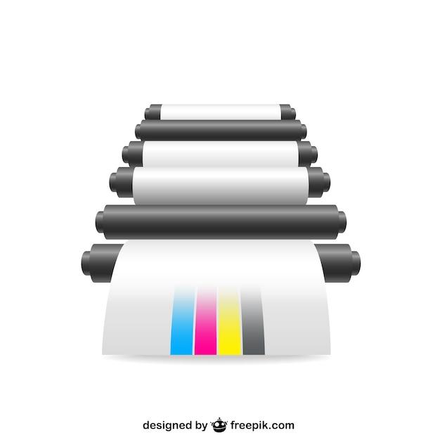 Cmyk printer illustration Free Vector