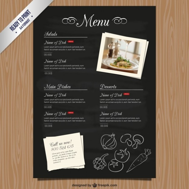 Cmyk restaurant menu template vector free download for Cafe menu design template free download