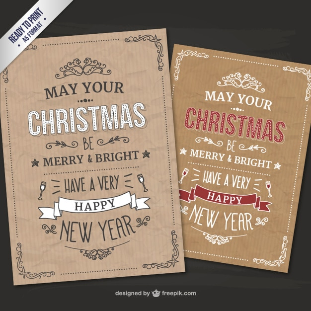 CMYK Retro Style Christmas Cards Free Vector