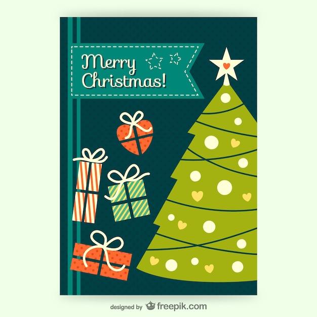 CMYK Vintage Christmas card vector Vector | Free Download