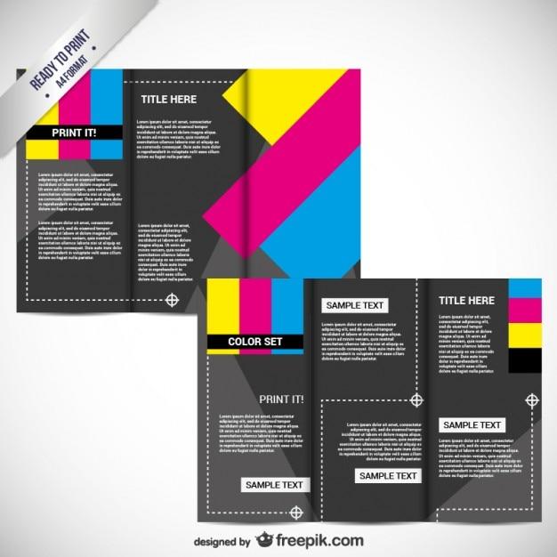 Cmykの印刷用パンフレット 無料ベクター