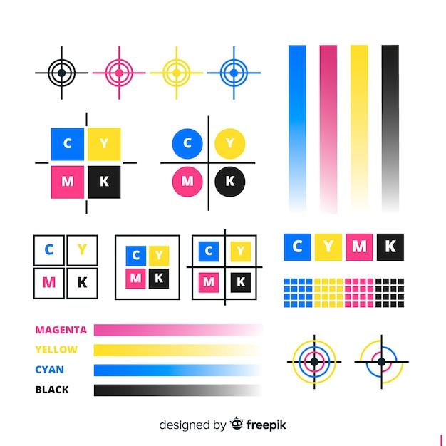 Коллекция калибровочных элементов cmyk Бесплатные векторы