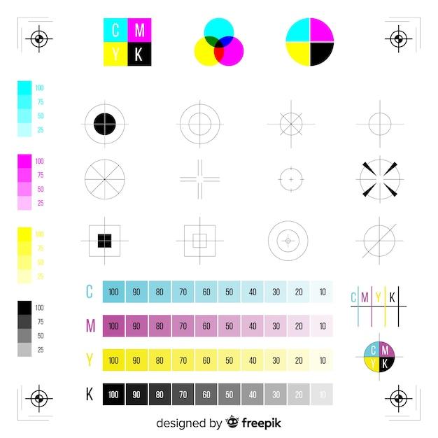 Коллекция калибровки марки cmyk Бесплатные векторы
