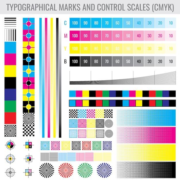 プリンターテストセット用のcmykプレス印刷マークと色調グラデーションバー Premiumベクター