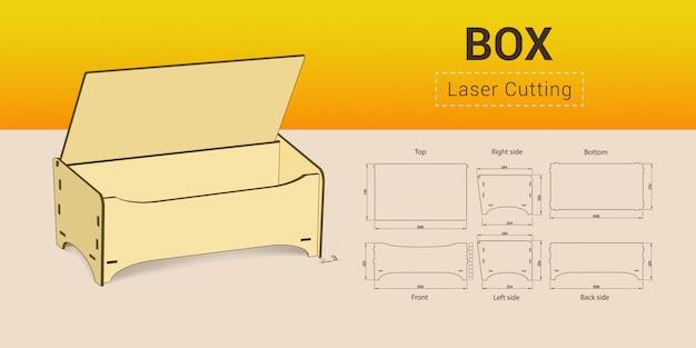 Cnc. laser cutting box. Premium Vector
