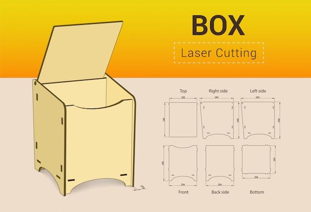 Cnc。レーザー切断ボックス。 Premiumベクター