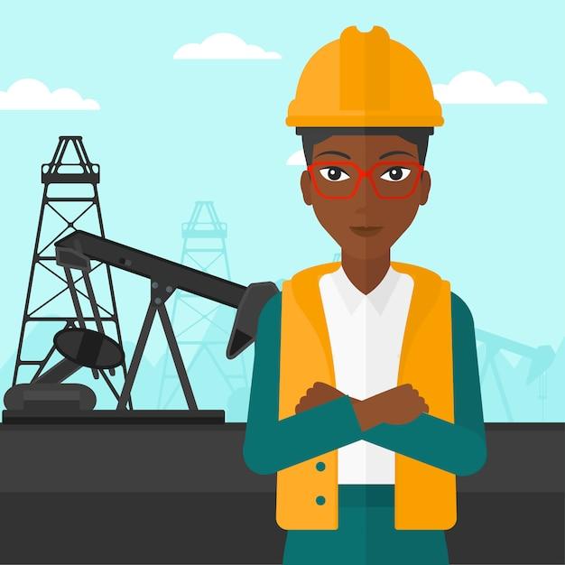Cnfident oil worker. Premium Vector