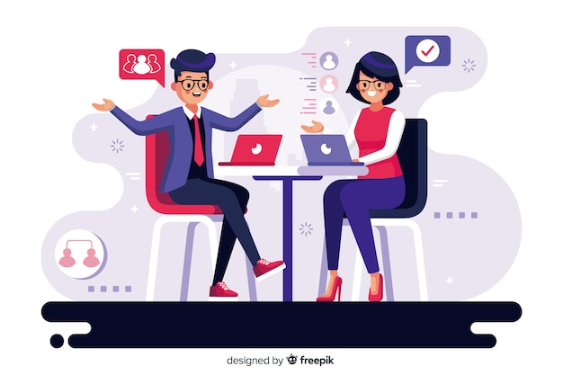Co-workers concept for landing page Free Vector