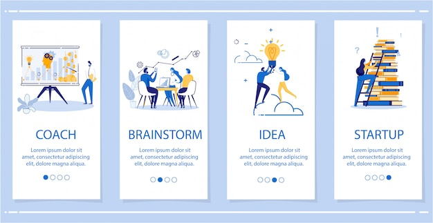 Установите coach, brainstorm, idea, startup flat banner. Premium векторы