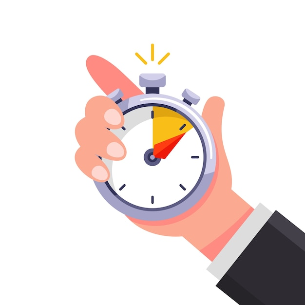 The coach holds a stopwatch in his hand and marks the time. Premium Vector