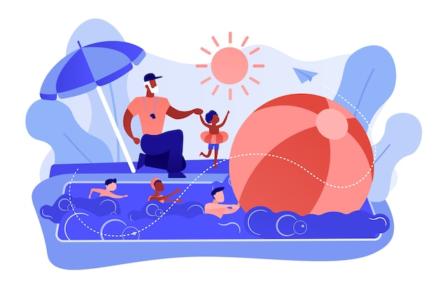 Coach teaching and children learning to swim in the pool in summer camp, tiny people. swim camp, open water trainings, best swimmer course concept. pinkish coral bluevector isolated illustration Free Vector