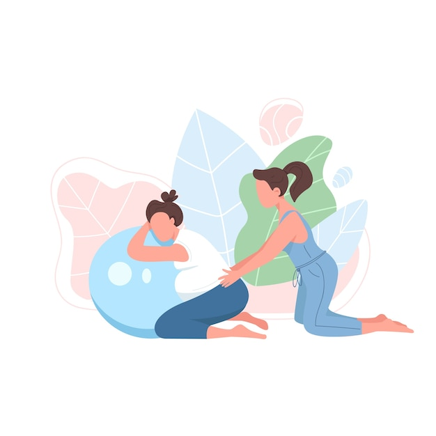 Coach with pregnant woman flat color faceless character. prenatal exercise. girl with aerobics ball. pregnancy fitness isolated cartoon illustration for web graphic design and animation Premium Vector