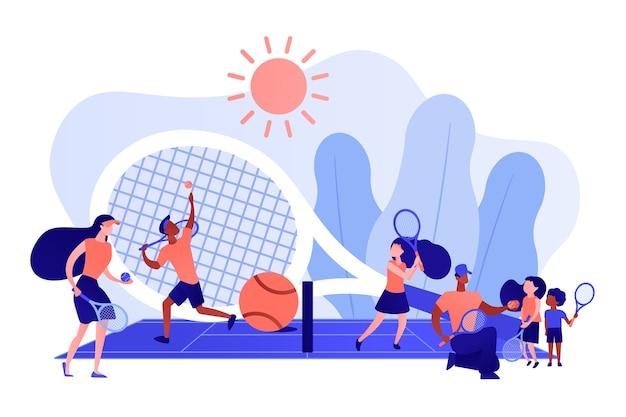 サマーキャンプでラケットを練習しているコートのコーチと子供たち、小さな人々。テニスキャンプ、テニスアカデミー、ジュニアテニストレーニングのコンセプト。ピンクがかった珊瑚bluevector分離イラスト 無料ベクター