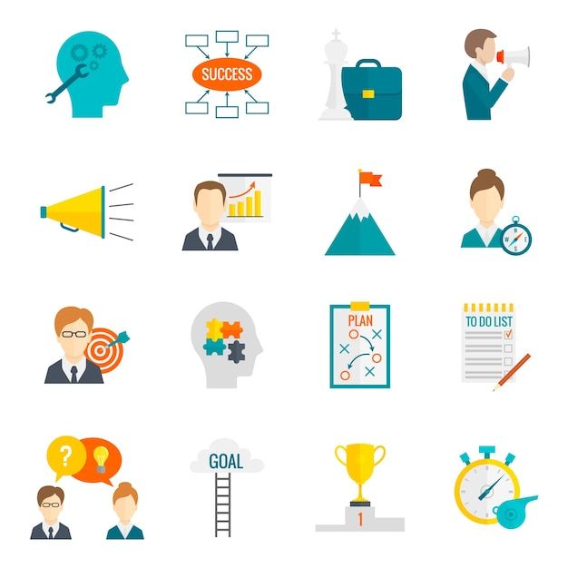 Coaching business icon flat Free Vector
