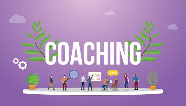 Coaching concept with people teching and discussion to share Premium Vector