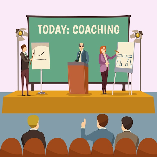 Coaching lecture illustration Free Vector