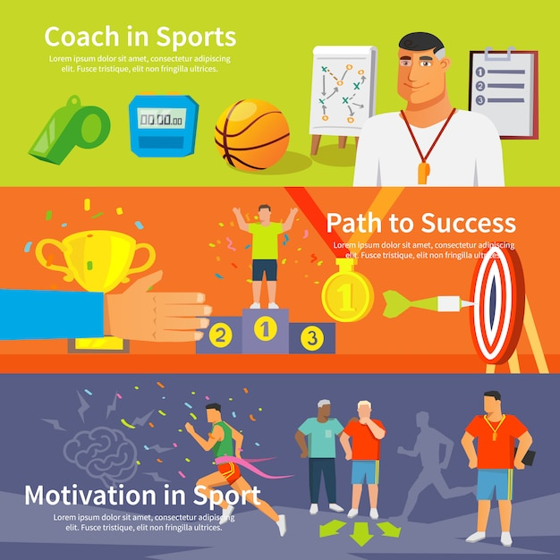 Coaching sport banner set Free Vector