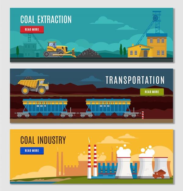 Set di banner industria carboniera Vettore gratuito