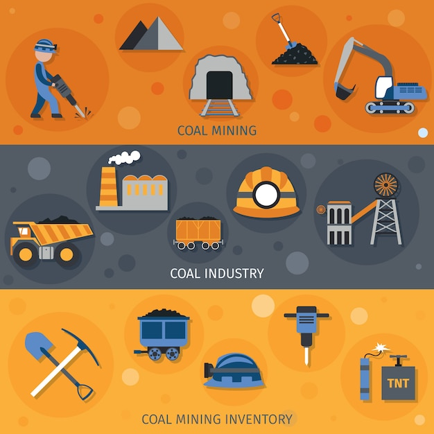 Coal industry banners Free Vector