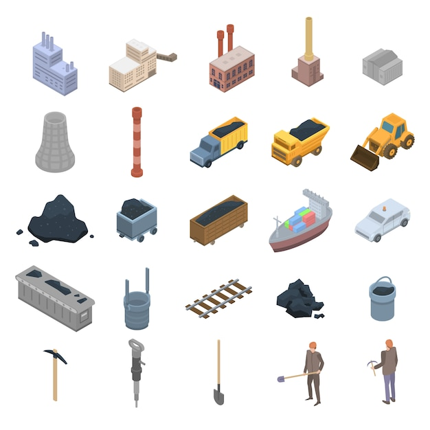 Coal industry icons set, isometric style Premium Vector