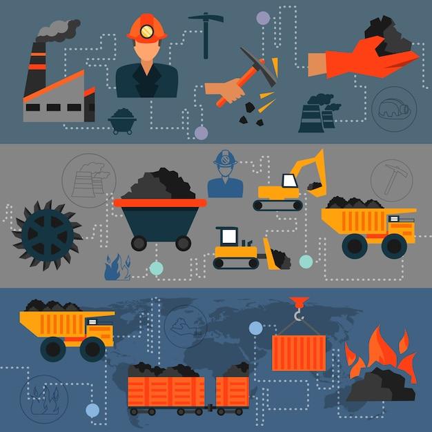 Coal industry line banners Premium Vector