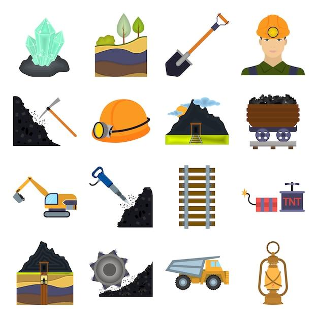 Coal mine cartoon vector icon set. vector illustration of coal mine. Premium Vector