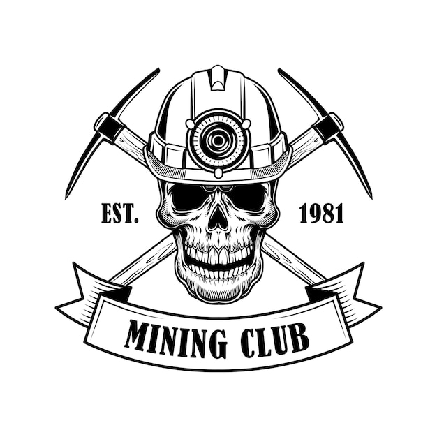 Illustrazione di vettore del cranio di minatori di carbone. testa di scheletro in elmo con torcia, twibill incrociati e testo. concetto di strumenti di estrazione del carbone per modelli di emblemi e distintivi Vettore gratuito