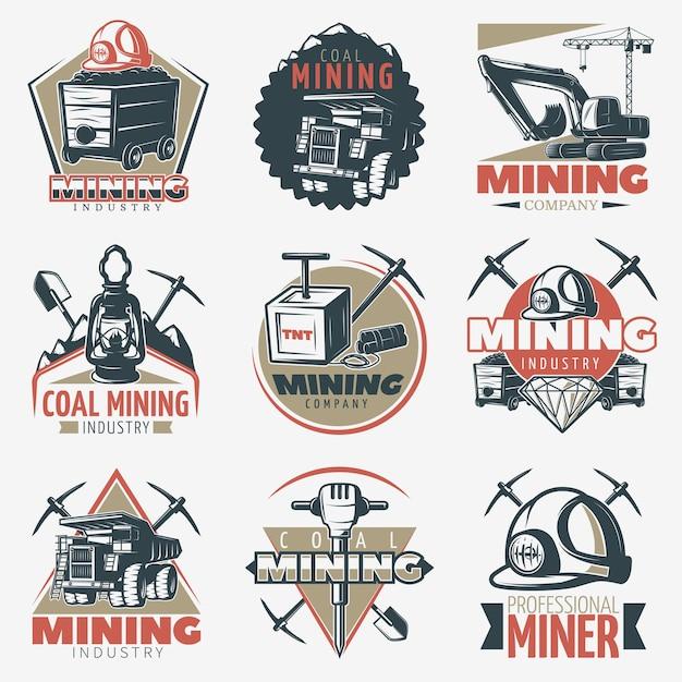 Набор эмблем добычи угля Бесплатные векторы