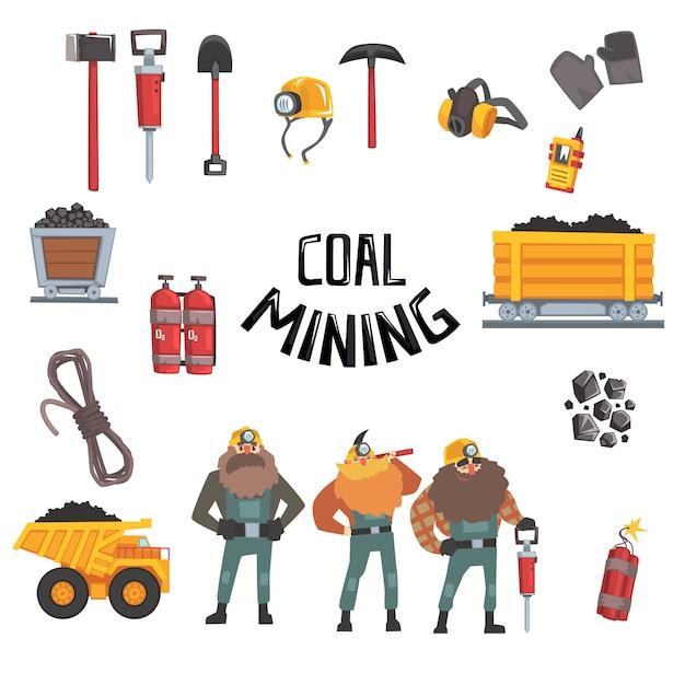 石炭鉱業業界セット、働く鉱山労働者、輸送、鉱山労働者機器およびツールイラスト Premiumベクター