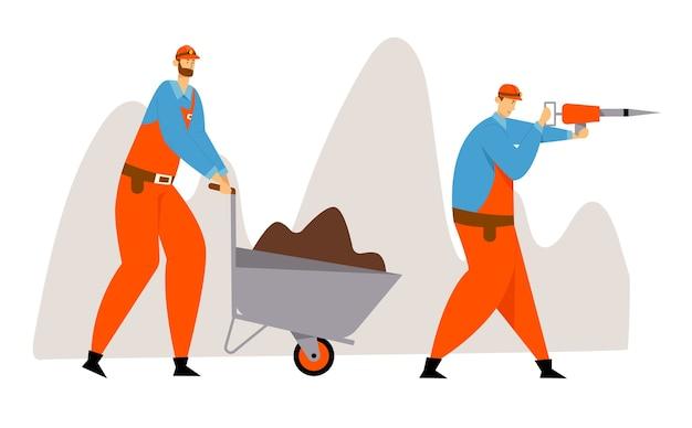 Добыча угля или полезных ископаемых, рабочие в униформе и касках с отбойным молотком и тачка с почвой. шахтеры за работой. Premium векторы