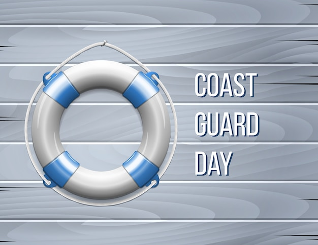 Coast guard day greeting card with life buoy Premium Vector