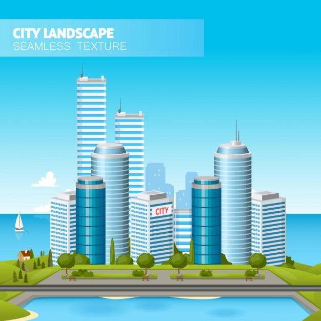 Landscape Illustration Vector Free: Coastal City Landscape Illustration Vector