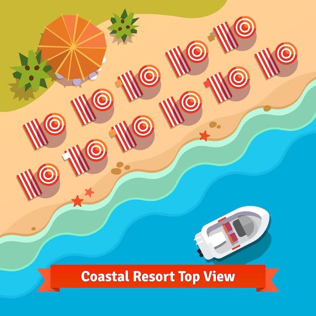 Coastal resort beach, sea and boat, top view Free Vector