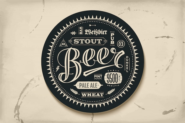Coaster for beer with hand drawn lettering Premium Vector