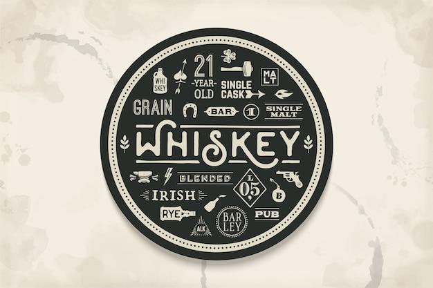 Подставка под виски и алкогольные напитки. винтажный рисунок на темы бара, паба и виски. черно-белый круг для размещения над ним бокала для виски с надписями, рисунками. иллюстрация Premium векторы