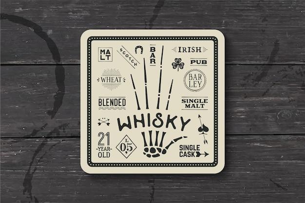 Подставка под виски и алкогольные напитки. винтажный рисунок на темы бара, паба и виски. черно-белый квадрат для размещения над ним бокала для виски с надписями, рисунками. Premium векторы