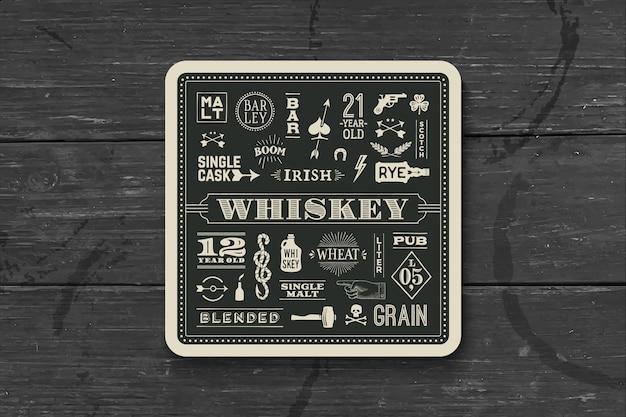 Подставка под виски и алкогольные напитки. Premium векторы