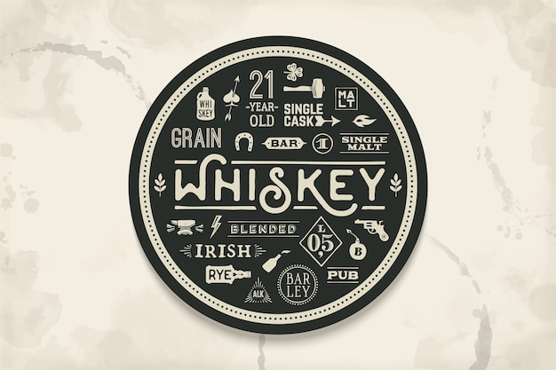 Coaster for whiskey and alcoholic beverages. vintage drawing for bar, pub and whiskey themes. black and white circle for placing whiskey glass over it with lettering, drawings.  illustration Premium Vector