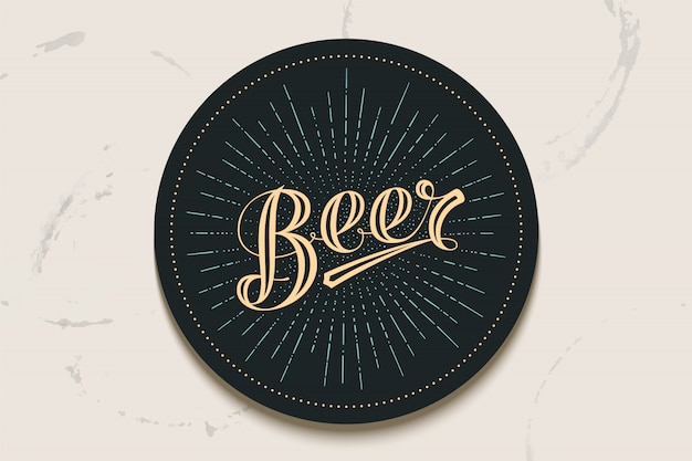 Coaster with hand drawn lettering beer Premium Vector