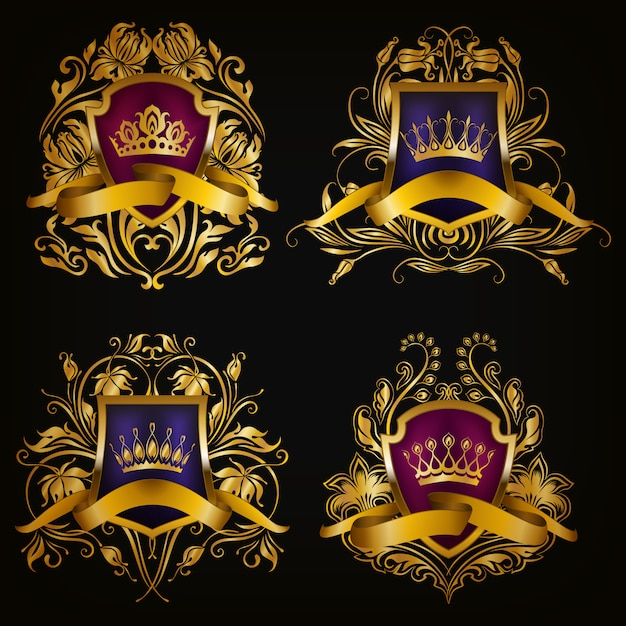 Coat of arms with crown set Premium Vector