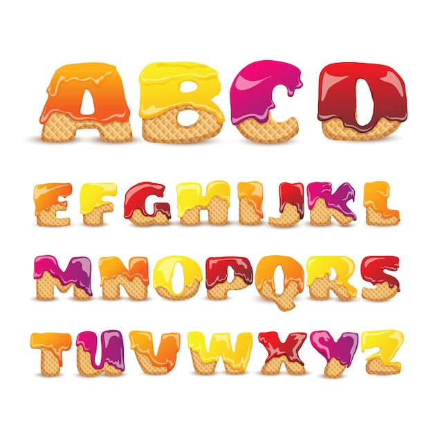 Coated wafers sweet alphabet letters set Free Vector